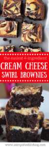 These cream cheese swirl brownies are so easy to make! I can't believe they use a boxed brownie mix!
