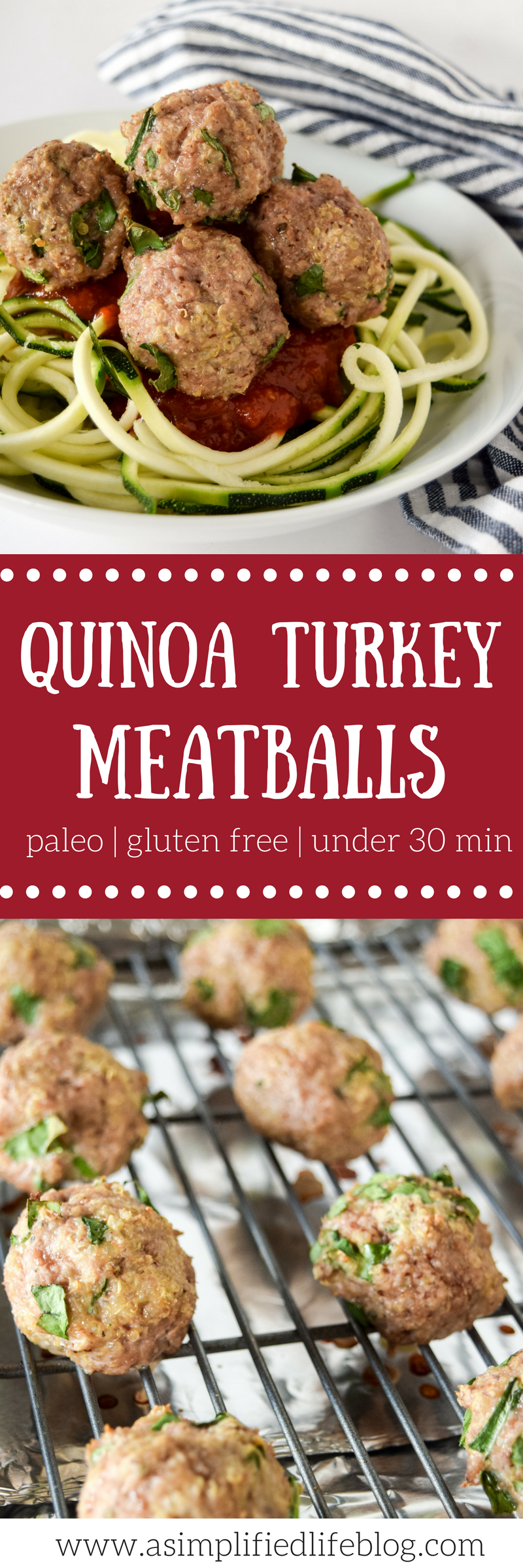 quinoa turkey meatballs | healthy dinner recipes | turkey meatballs | turkey meatballs paleo | turkey meatballs easy | turkey meatballs baked | turkey meatballs recipe | easy paleo dinner | paleo dinner recipes | gluten free meatballs | healthy meatballs