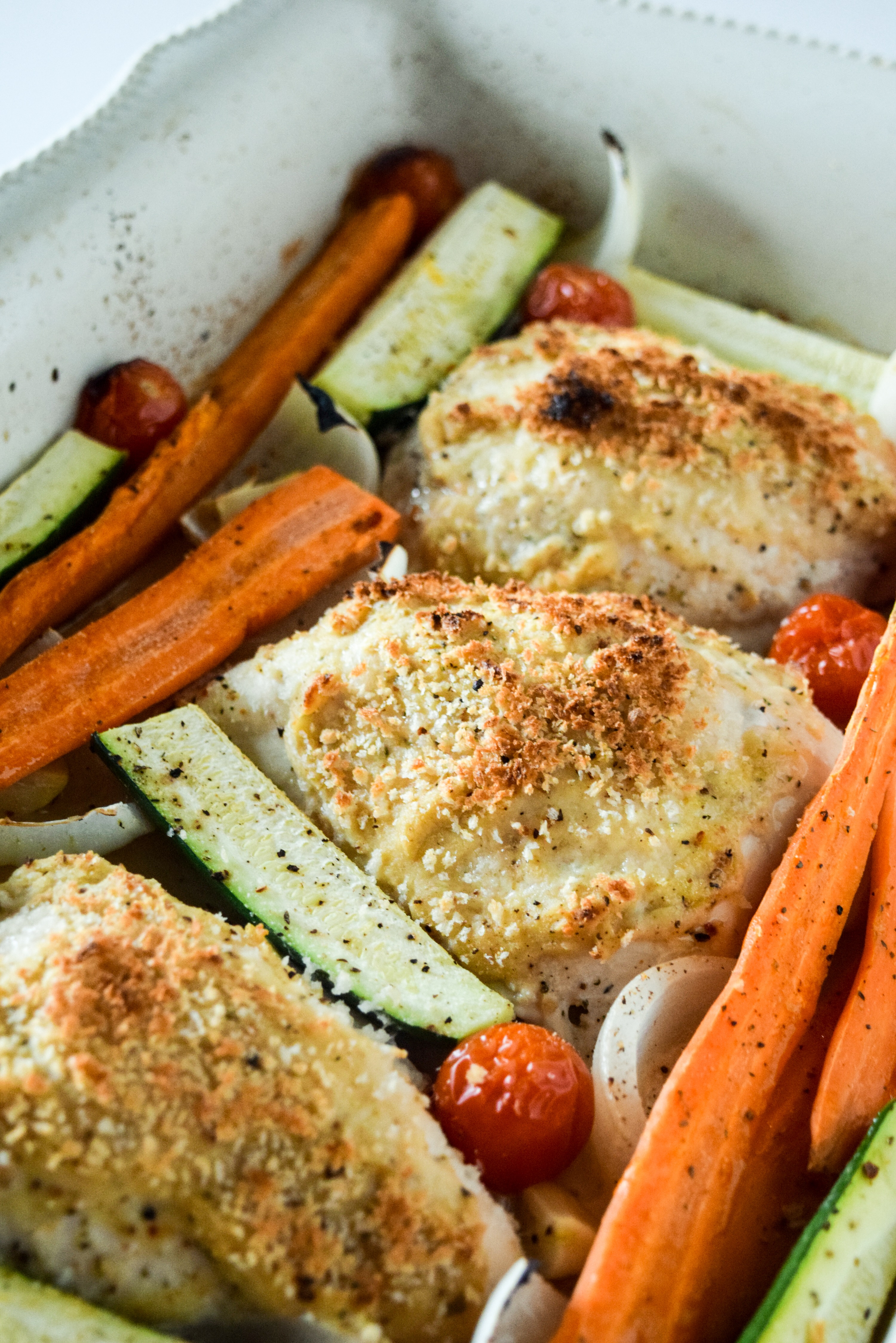 One Dish Easy Hummus Crusted Chicken
